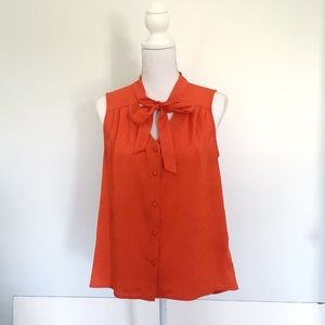 Mossimo Sleeveless Pussycat Bow Red Blouse